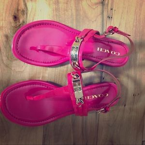 Hot pink coach gold buckle thong style sandal